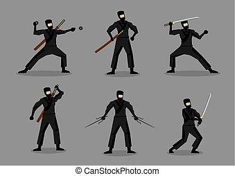 wapens, ninja, vector, japanner, karakters