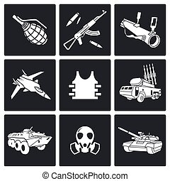 wapens, set, pictogram