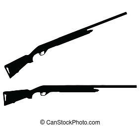 wapens, silhouette, -, vuurwapens, verzameling