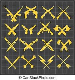 wapens, verzameling, donker, vector, gekruiste, achtergrond