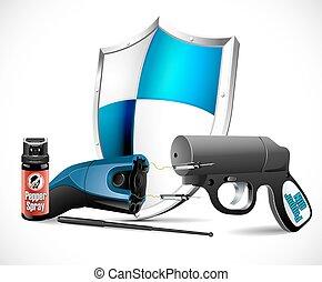wapens, -, zelfdefensie, taser
