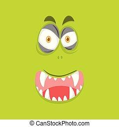 wapno zieleń, potwór, tło, twarz