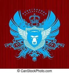 wappen, kopf, vektor, emblem, bär