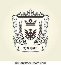 wappen, mit, ritterwappen, adler, auf, schutzschirm, kaiserlich, emblem
