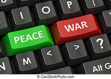 war and peace concept on the black keyboard, 3D rendering