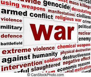 War armed conflict message. Genocide against nations warning...