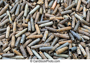 War background of used shells