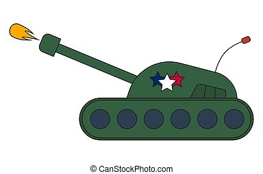 War battle Tank shooting projectile side view, vector illustration cartoon.