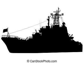 War boat - Silhouette of a large warship on a white...