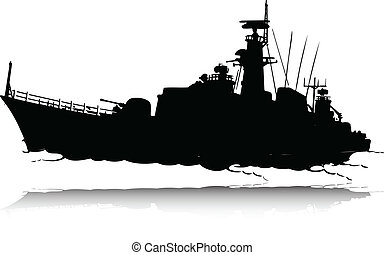 war boat vector silhouettes