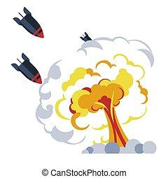 War bomb explosion flame mushroom rockets or missiles - ...