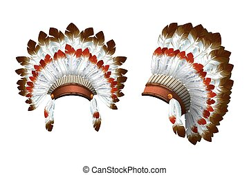 War bonnet vector Indian. - War bonnet. Front view and a...