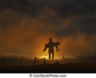 Editable vector illustration of a soldier carrying a wounded comrade with background made using a gradient mesh
