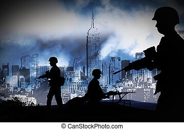 WAR - silhouettes of any Soldiers in new york