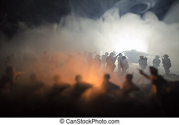 War Concept. Military silhouettes fighting scene on war fog sky background, World War Soldiers Silhouettes Below Cloudy Skyline At night. Attack scene. Armored vehicles