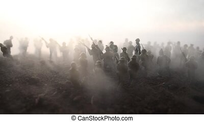 War Concept. Military silhouettes fighting scene on war fog...