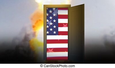 War conflict United States. Violence war depression. Door to...