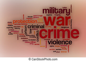 War crime word cloud with abstract background