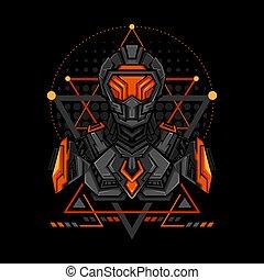 War Cyborg Geometry Style