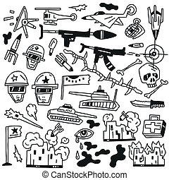 war doodles - war set vector icons