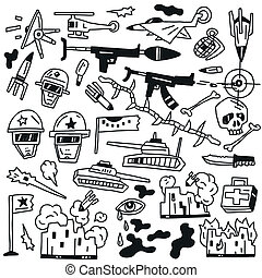 war doodles - war set vector icons