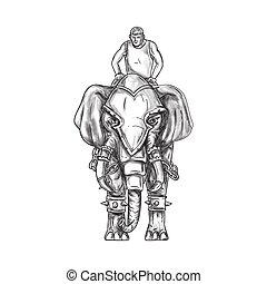 War Elephant Mahout Rider Tattoo