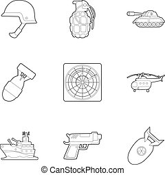 War equipment icons set, outline style