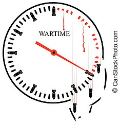 War Hours - a symbolic image Every minute takes lives and destroys everything around. Terrorism and predatory wars.