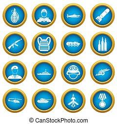 War icons blue circle set