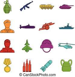 War icons doodle set