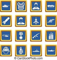War icons set blue