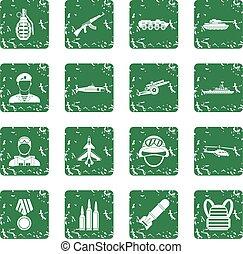 War icons set grunge