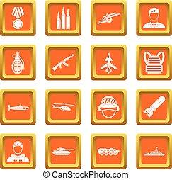 War icons set orange