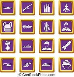 War icons set purple