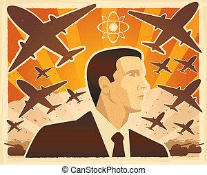 War Illustration - An illustration of a leader going to war.