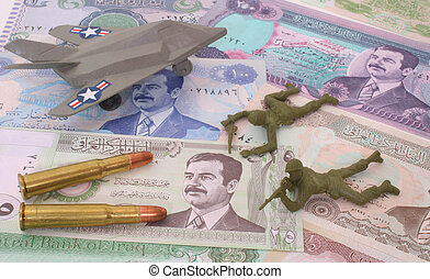War in Iraq - Currency From Iraq with Bullets and Plastic...