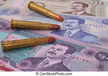 War in Iraq - Currency From Iraq With Three Bullets, lose-up