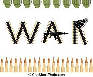 War. Letters from  Bandolier Tape bullets. Text of military equipment and weapons.