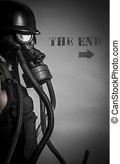 War, nuclear disaster, man with gas mask, protection