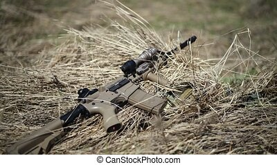 War or airsoft game. Sand-rifle automatic rifle with a...
