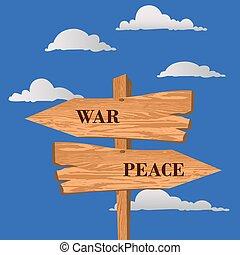 War or peace street sign, choice concept, vector illustration