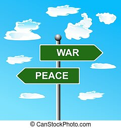 War, peace, opposite, signs. vector