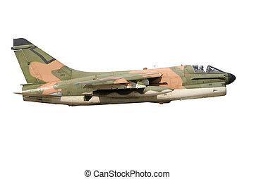 War plane isolated - Vietnam era camouflaged A-7 Corsair...