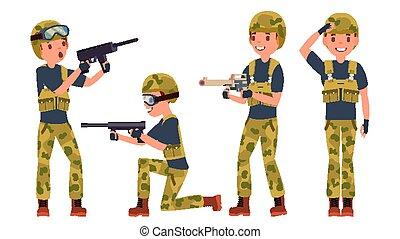 war., pronto, gioco, poses., differente, maschio, carattere, silhouette., illustrazione, isolato, battle., uomo, army., vector., military., cartone animato, soldato, bianco