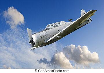 war propeller fighter plane - vintage historic old war...