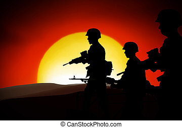 WAR - silhouettes of any Soldiers in back light