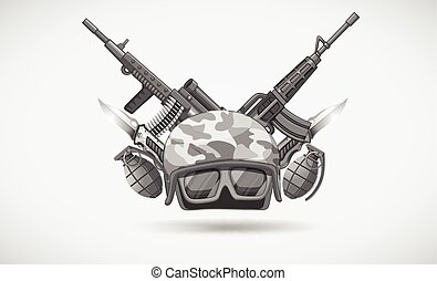 War theme with helmet and weapons