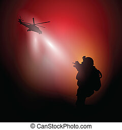 War - Vector illustration with silhouette of a soldier and a...