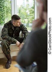 War veteran after nervous breakdown - Image of war veteran...