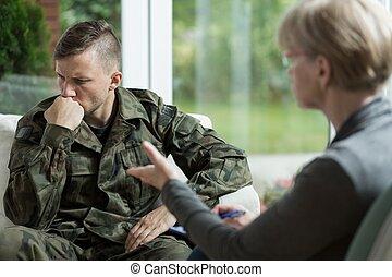 War veteran with problems - War veteran talking about...